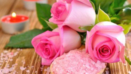 rose, salt, candles