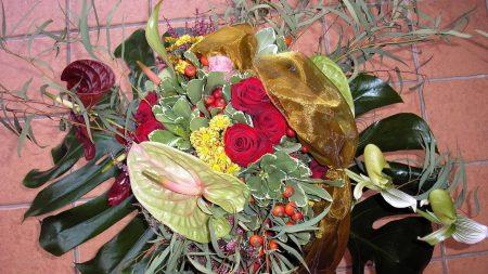 roses, anthurium, flowers