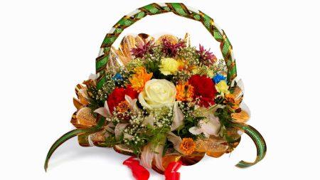 roses, basket, chrysanthemums