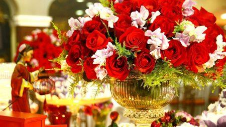 roses, bouquet, vase