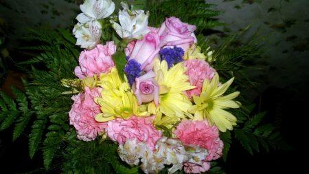 roses, carnations, alstroemeria