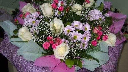 roses, carnations, gypsophila