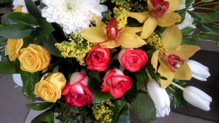 roses, chrysanthemums, orchids