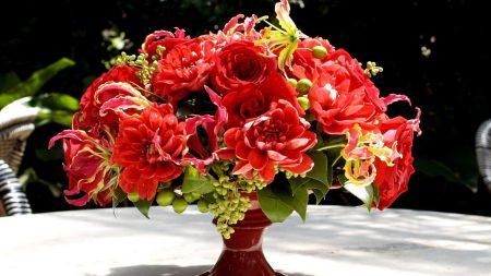 roses, dahlias, gloriosa