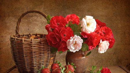 roses, flowers, strawberries