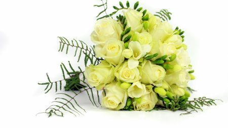 roses, freesia, bouquet