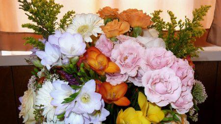 roses, freesia, gerbera