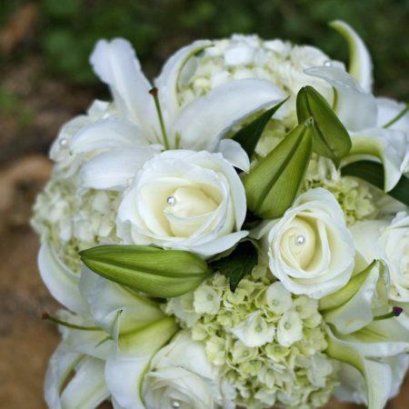 roses, lilies, hydrangeas