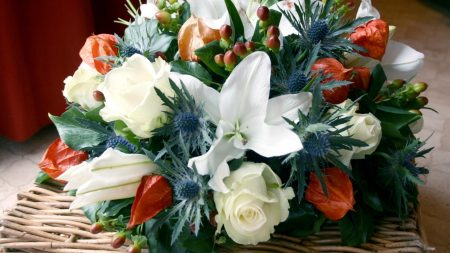 roses, lilies, physalis
