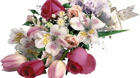 roses, tulips, lilies