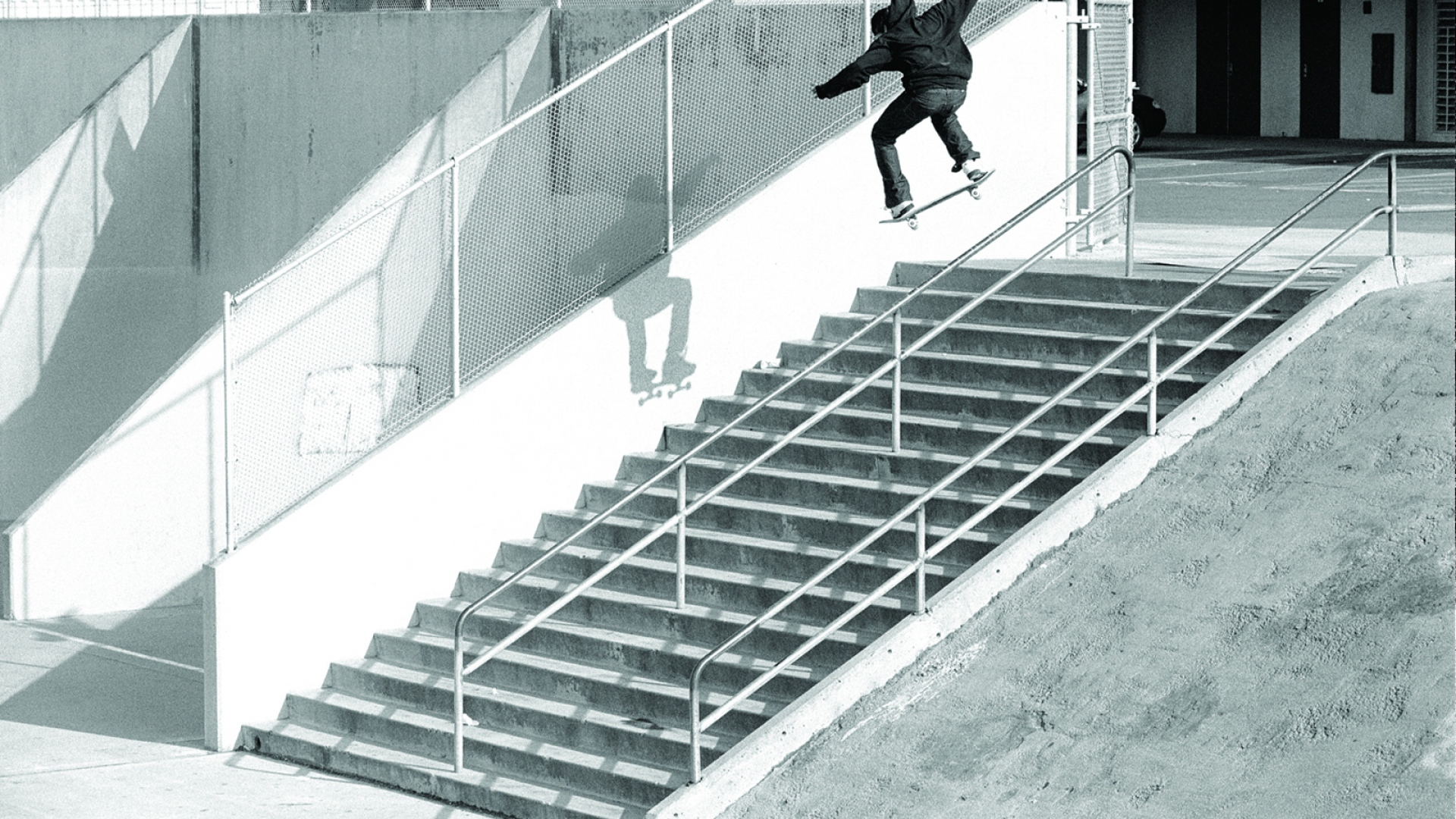Download Wallpaper 1920x1080 Ryan Smith Jump Skateboard Ladder Steps Trick Full Hd 1080p Hd Background