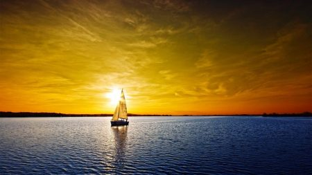sailing vessel, decline, orange