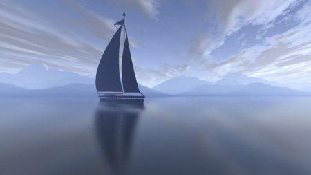 sailing vessel, fog, sea