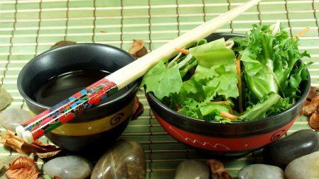 salad, sticks, japanese cuisine