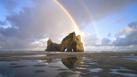 sand, rainbow, rocks