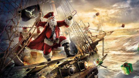 santa claus, pirate, ship