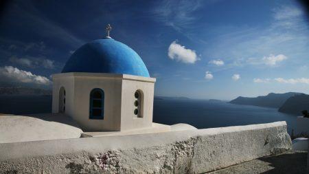 santorini, greece, clouds