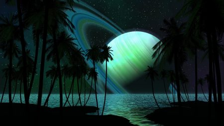 saturn, palm trees, water