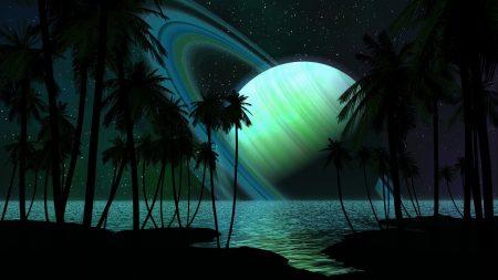 saturn, planet, palm trees