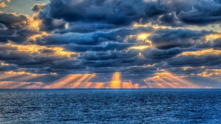 sea, clouds, sun