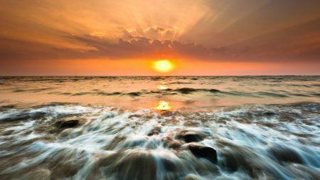 sea, foam, sunset