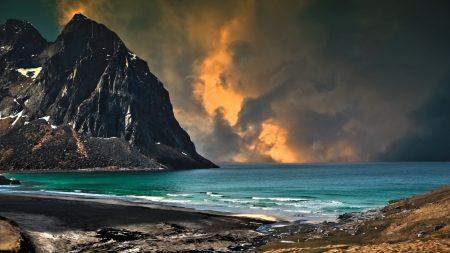 sea, mountains, cloudy