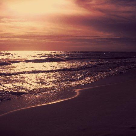 sea, night, sunset