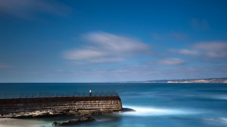 sea, pier, person