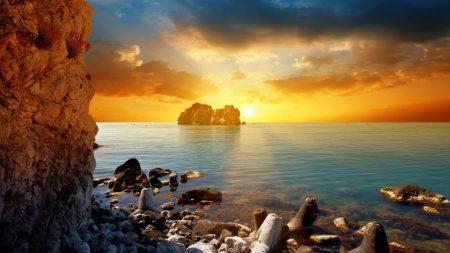 sea, rocks, stones