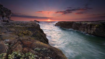 sea, rocks, sun