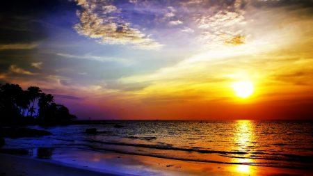 sea, sunset, landscape