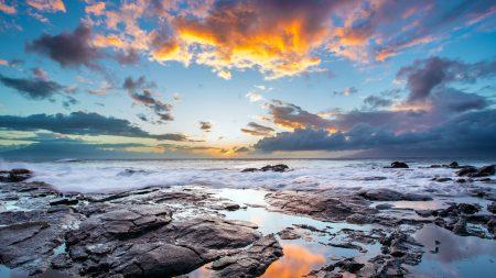 sea, sunset, light