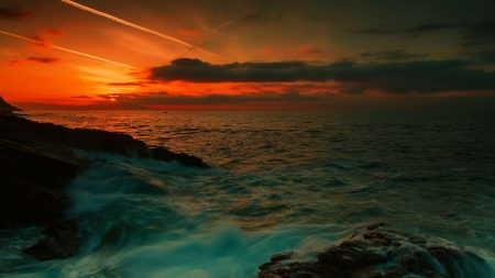 sea, waves, night