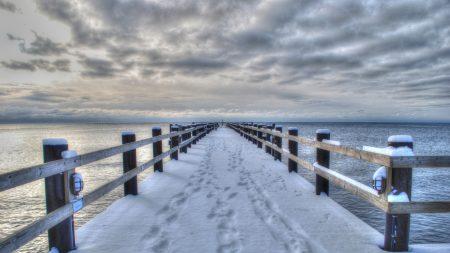 sea??, winter, bridge