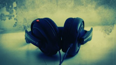 sennheiser, headphones, wall
