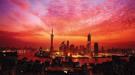 shanghai, buildings, sky