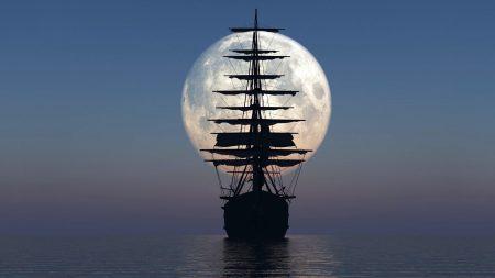ship, sea, sunset