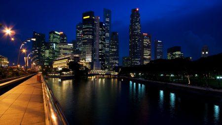 singapore, city, light