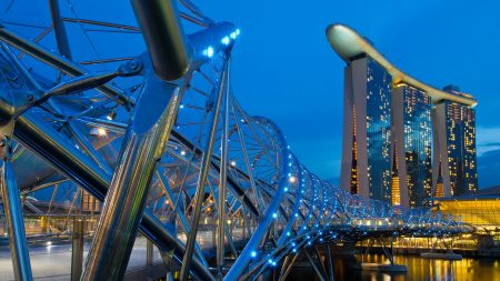 singapore, helix bridge, evening