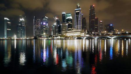 singapore, night, building