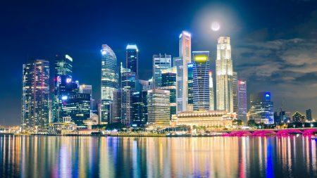 singapore, night, lights