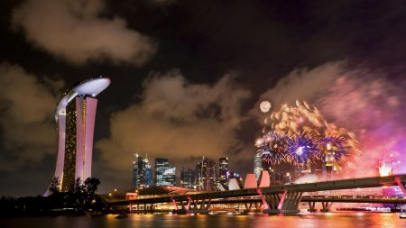 singapore, river, skyscrapers