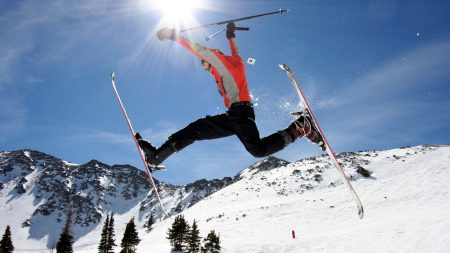 skier, skiing, stick