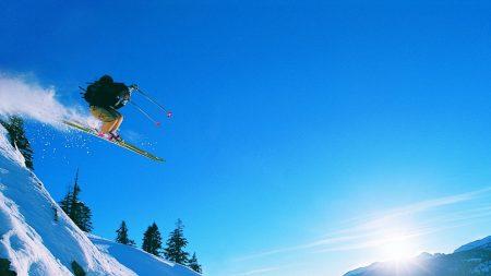 skis, descent, mountains