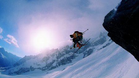 skis, mountains, snow