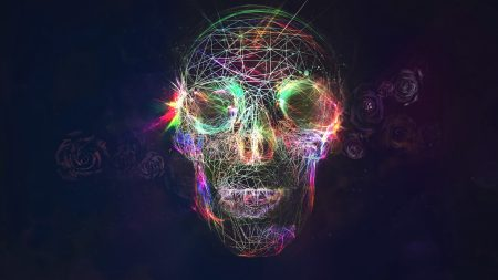 skull, abstract, bright