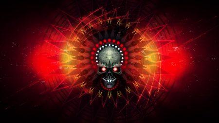 skull, fire, lines