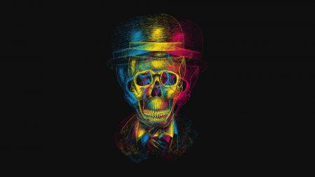 skull, hat, anaglyph