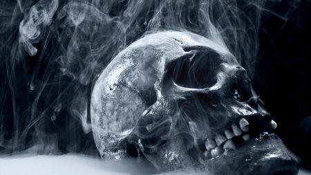 skull, smoke, blue