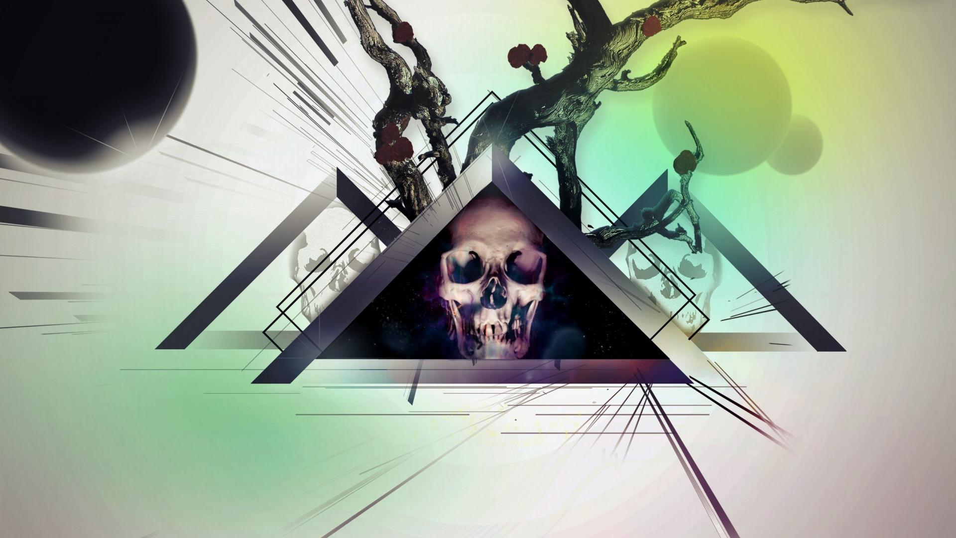 skull, triangle, wood